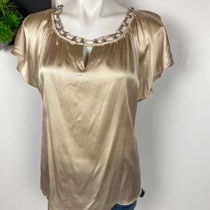 White House Black Market Tops - WHBM Beaded Neck Silk Stretch Blouse Med